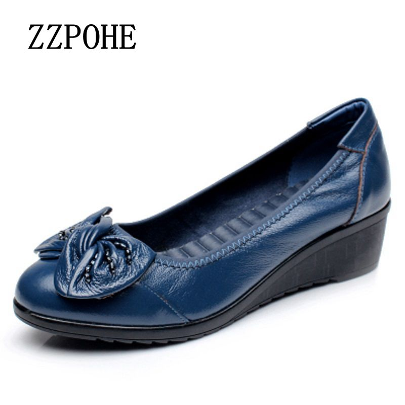 ZZPOHE 2017 Spring and autumn single shoes mother slippers soft leather shoes round shallow mouth in the elderly work shoes 40 barbour plain lambswool pink page 8
