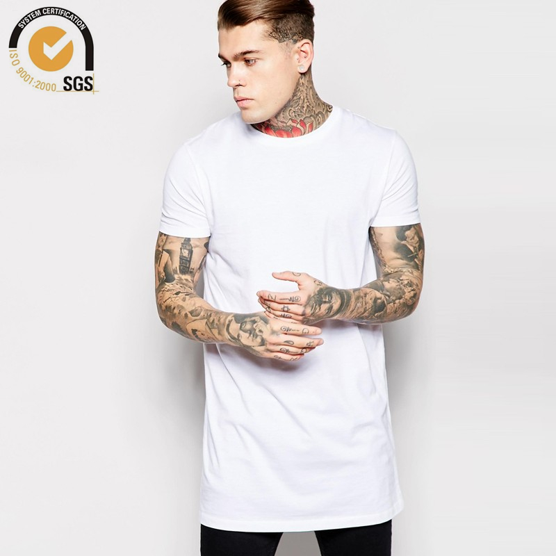 Mens 100 cotton long t shirt short sleeve blank t shirt for Mens long sleeve white t shirt