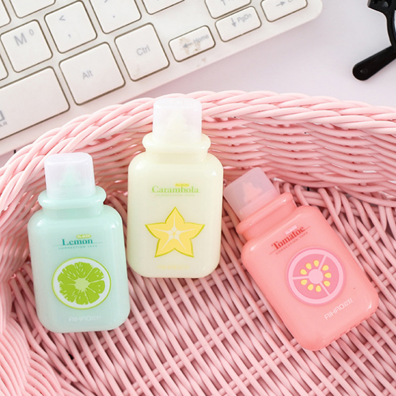 Cute Fruit Milk Bottle Correction Tape Material Escolar Kawaii Stationery Office School Supplies Papelaria 6M