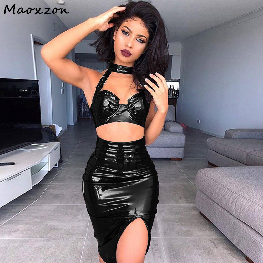Maoxzon Women s Sets PU Leather Sexy Club Slim Halter Crop Tops and Skirts 2  piece Set Bodycon Bandage Dress Two piece Suits XL 228b07b3e