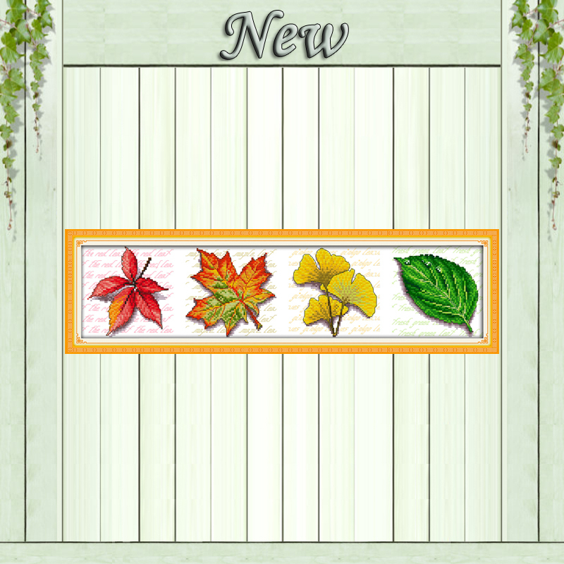 Leaves (view picture) home Decor paintings Counted Printed on canvas DMC 11CT 14CT Cross Stitch Needlework Sets embroidery kits image