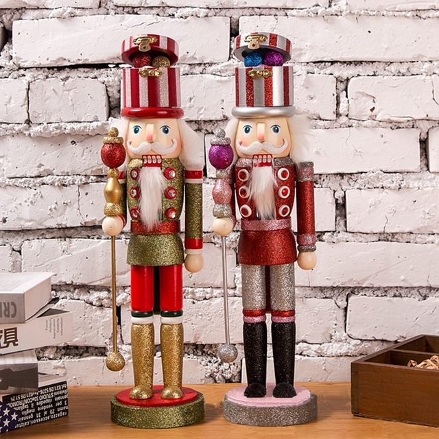 1pc 38cm Wooden Nutcracker Soldier Bling Bling Design Handcraft Puppet Christmas Ornaments Home Decoration Gifts for Christmas