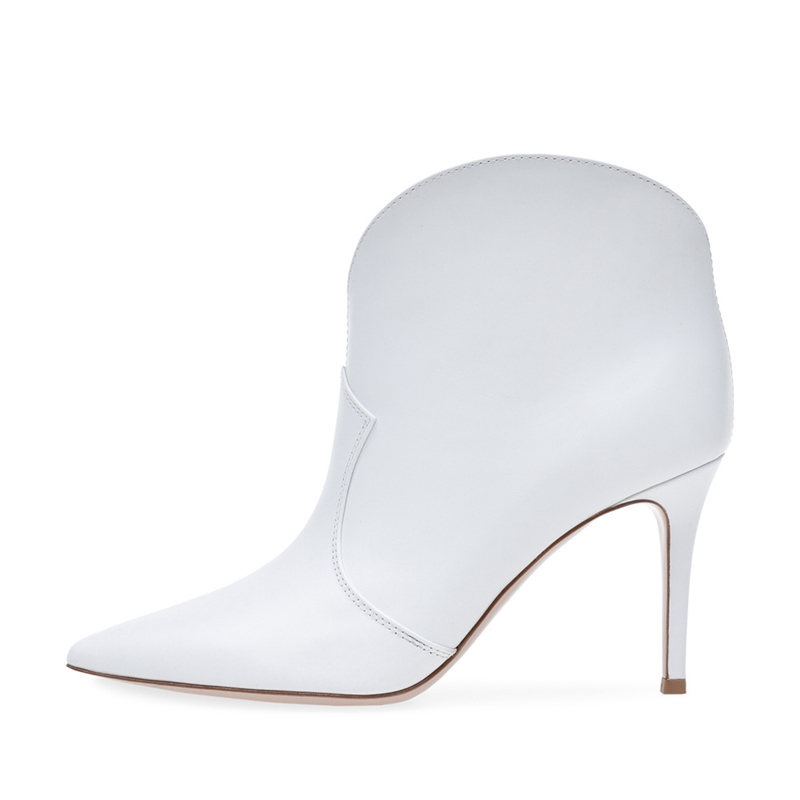 Women 39 s Shoes Fashion Ankle Boots Stilettos High Heels White Women 2019 Autumn Sexy Booties Pointed Wedding Boots TL A0156 in Ankle Boots from Shoes