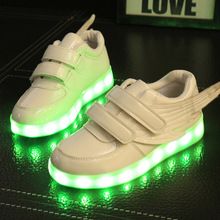 Children's Light Shoes Usb Charge Male Magic Stickers Children's Shoes Led Women Colorful Slippery Thick Wings Luminous Sneakers