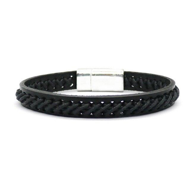 Купить мужской плетеный браслет с магнитной пряжкой