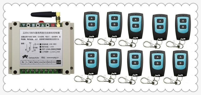 New AC220V 250V 380V 30A 2CH Radio Controller RF Wireless Relay Remote Control Switch 315 MHZ 433 MHZ 10 Transmitter+1 Receiver new ac220v 1ch 1channe rf wireless remote control switch system 1x transmitter 4x receiver 315 433 mhz