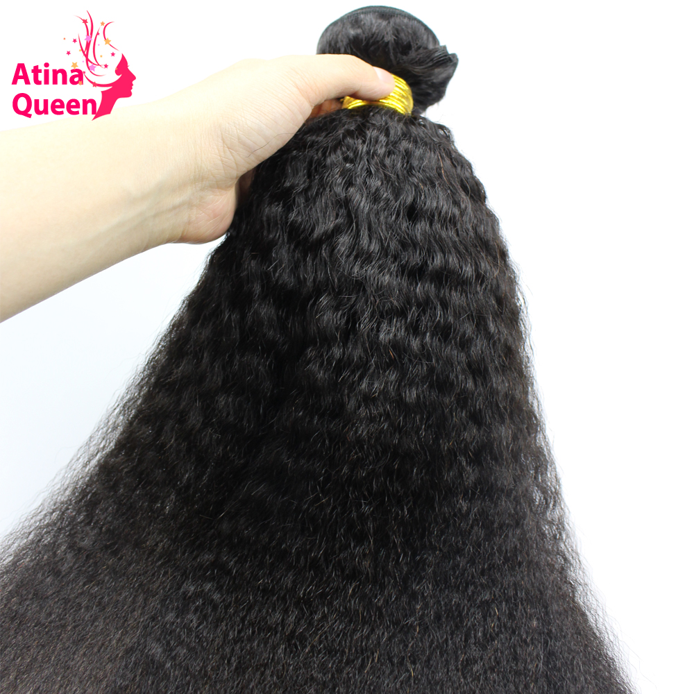 Kinky Straight Hair Weave Bundles Natural Color 10-28 100% Human Hair Weaving Remy Atina Queen Italian Coarse Hair Products