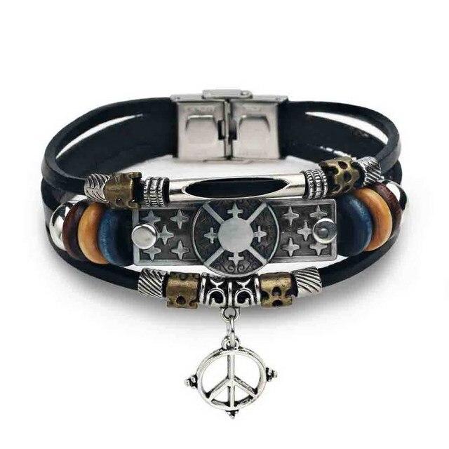 Clic Black Genuine Leather Bracelet Men Anchor Cross Wrap Bracelets Weave Multilayer Geometric Bangle For