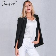 Simplee Fashion cape poncho style white jacket coat autumn Elegant turn-down collar women coat Classical pocket black outwear