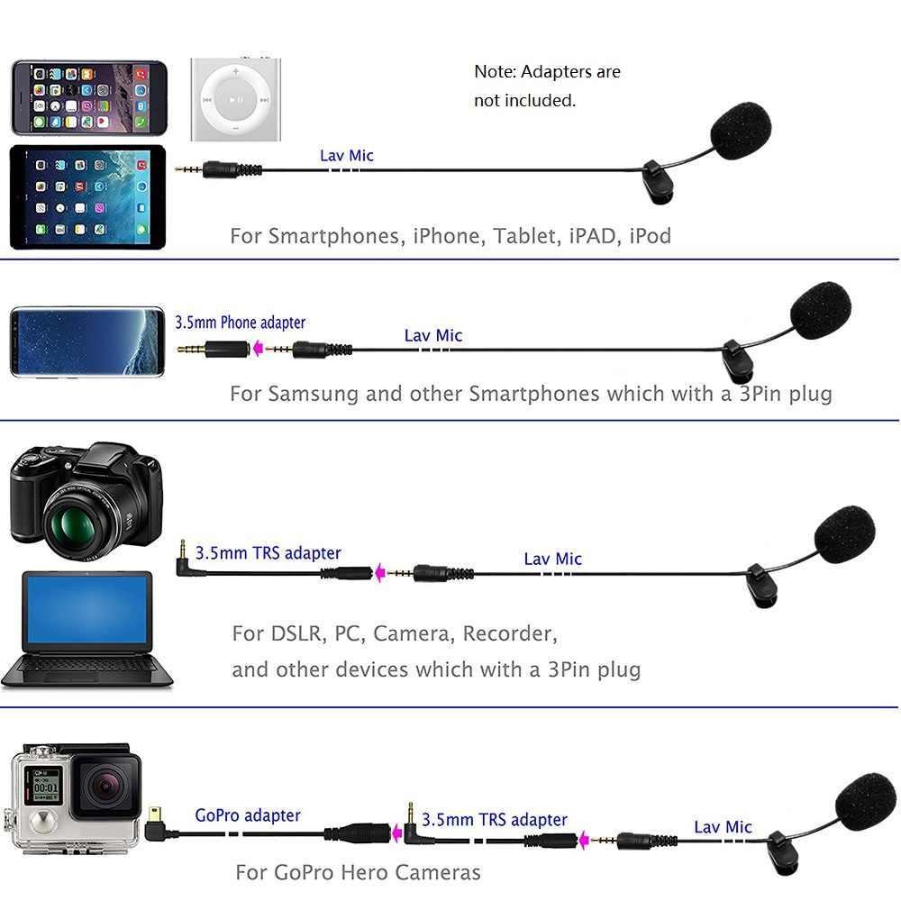 3,5 мм Jack микрофон наружная Скоба-на лацкальный лавальерный Микрофон для телефона Handsfree проводной Конденсатор микрофон для обучения