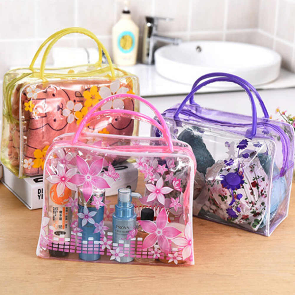 New Portable Travel Makeup Pouch Clear PVC Flower Waterproof Makeup Toiletry Travel Wash Waterproof Transparent Cosmetic Bag