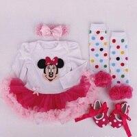 Christmas Gift Baby Sets Newborn Lace Tutu Romper Dress Jumpersuit Headband Shoes 4pcs Set Santa