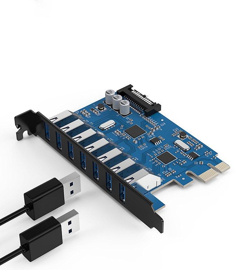 USB3.0 carte d'extension ordinateur de bureau PCI-E carte d'extension un pour sept châssis l'expansion PVU3-7U