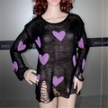 Brand New Women Sweaters And Pullovers Tricot Tops Cover-up Beach Jumper Heart Design Hole Knit Oversize Knitwear