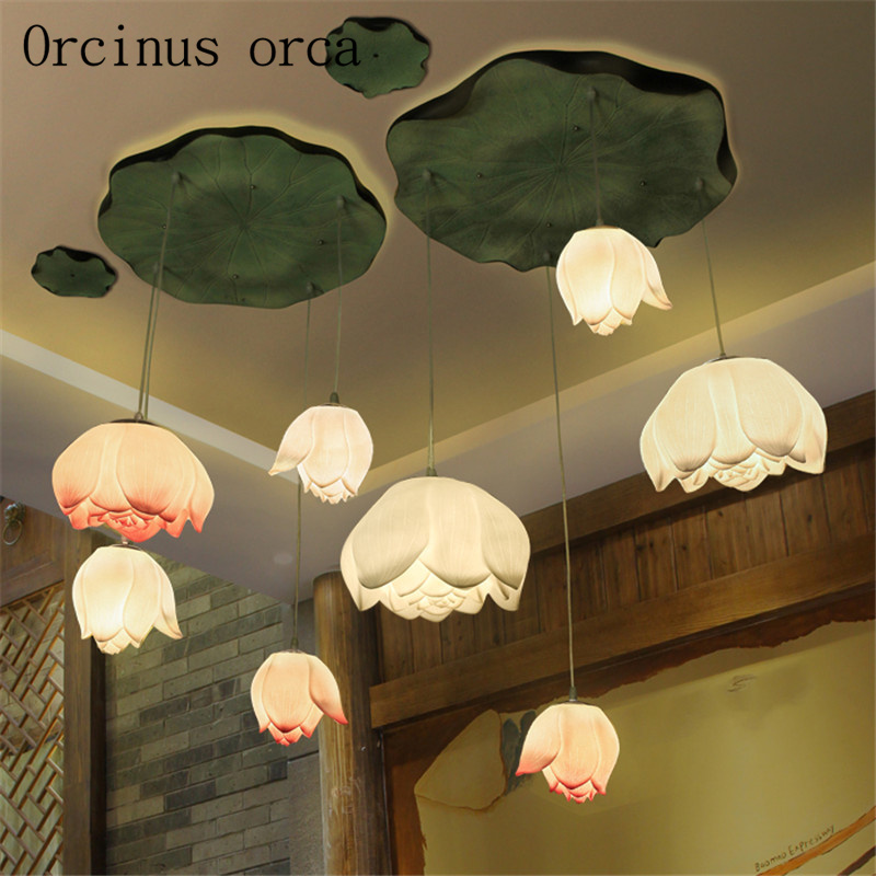 Creative lotus classical Chinese wind chandeliers teahouse dining room living room modern Chinese lotus Chandelier free shipping lotus catalog nsf