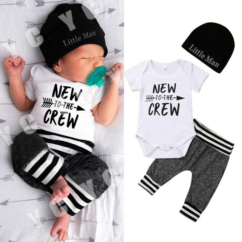 3 PCs 0-18 Months Infant Newborn Baby Boys Clothing set Romper+Pant+ Hat Outfit Clothes Long and short Sleeves romper
