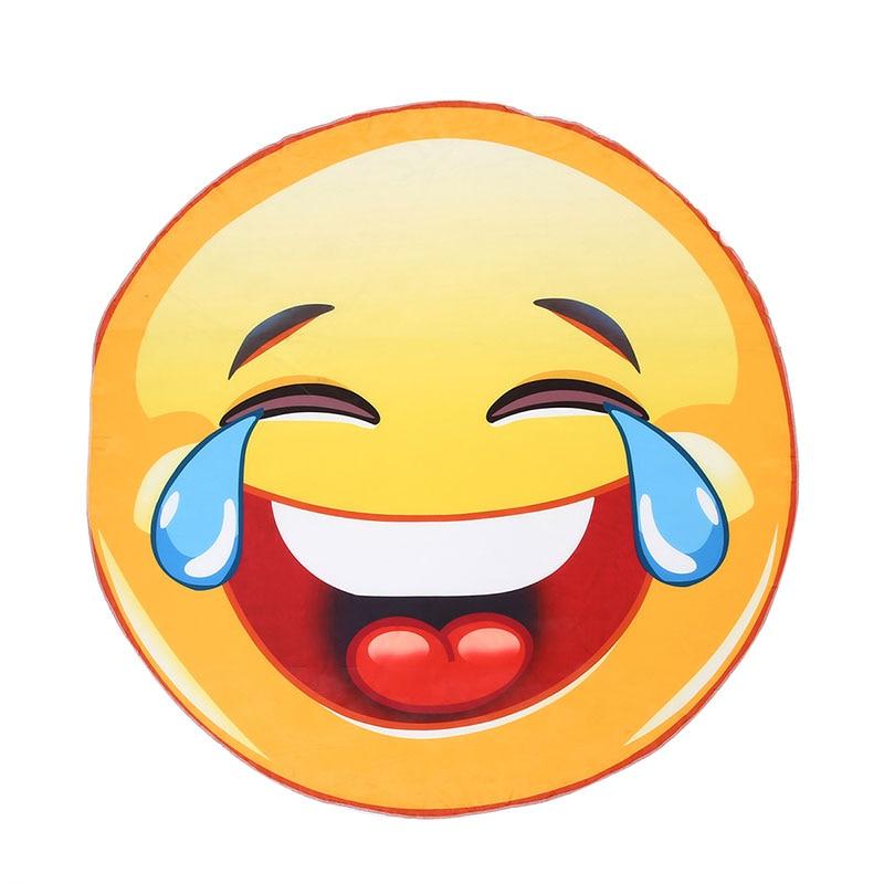 ✔  Cute Happy Expression Пляжное Полотенце Круглый Шифон Полиэстер Коврик Для Йоги Банное Полотенце Пик ★