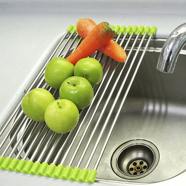 Roll Up Folding Over the Sink Multipurpose Dish Drying Rack Silicone ...