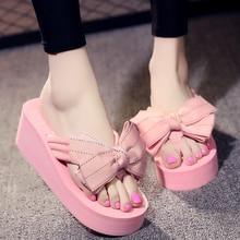 6CM Platform Wedges Bow Shoes Fashion Comfortable Slip Beach Shoes Butterfly-knot Women Flip Flops asds ladies summer platform flip flops thong wedge beach slipper knot bow shoes