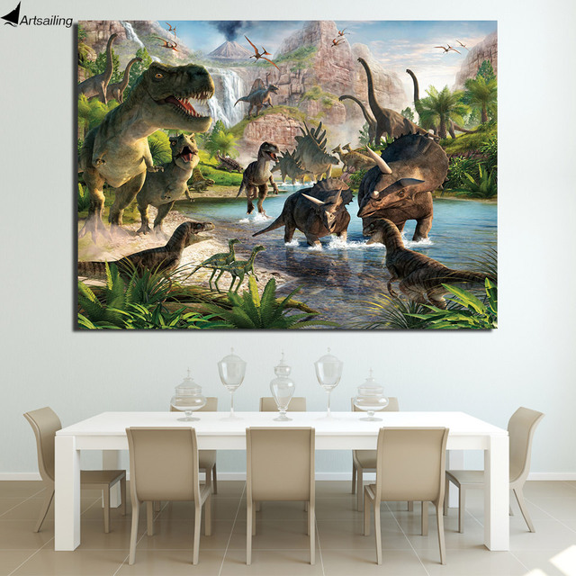 HD Printed 1 Piece Canvas Art Jurassic Jungle Dinosaur Birds Painting Wall Picture For Living Room