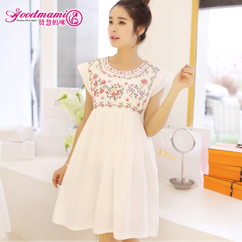 Unique sale 2015 summer maternity clothing fashion one piece dress sleeveless embroidery 100% cotton - Working For Customer store