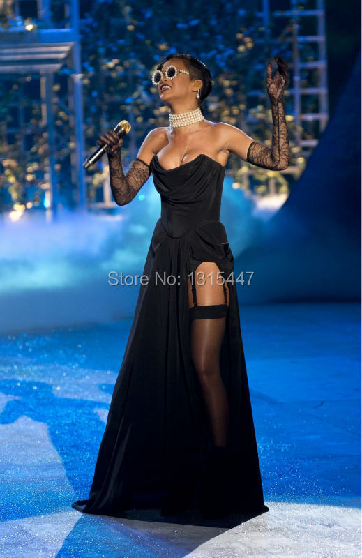 Rihanna Black Strapless Prom Gown Victorias Secret Fashion Show 2012 Celebrity Dresses1.1