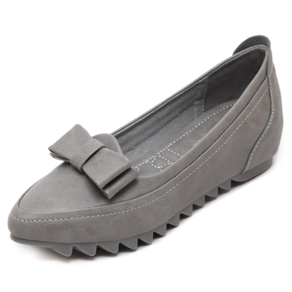 New Woman Microfiber Leather Shoes Size 33-42 Lady Office Fashion Butterfly-knot Leather Shoes Anti-slip Woman Work Flats