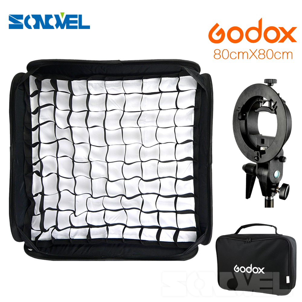 Godox Ajustable Flash Softbox Grid 80cm * 80cm + S type Bracket + Honeycomb Grid Mount Kit for Flash Speedlite Studio Shooting godox softbox ajustable flash 31 31inch 80cm 80cm s type bracket honeycomb grid mount kit for flash speedlite