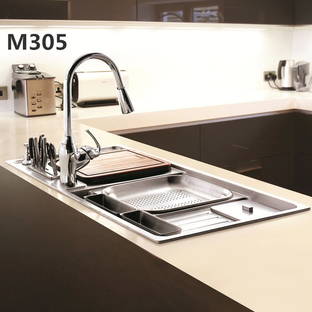 German Prussia Stainless Steel Sink Large Double Slot M305 Package  Vegetable Washing Basin Sink With Garbage