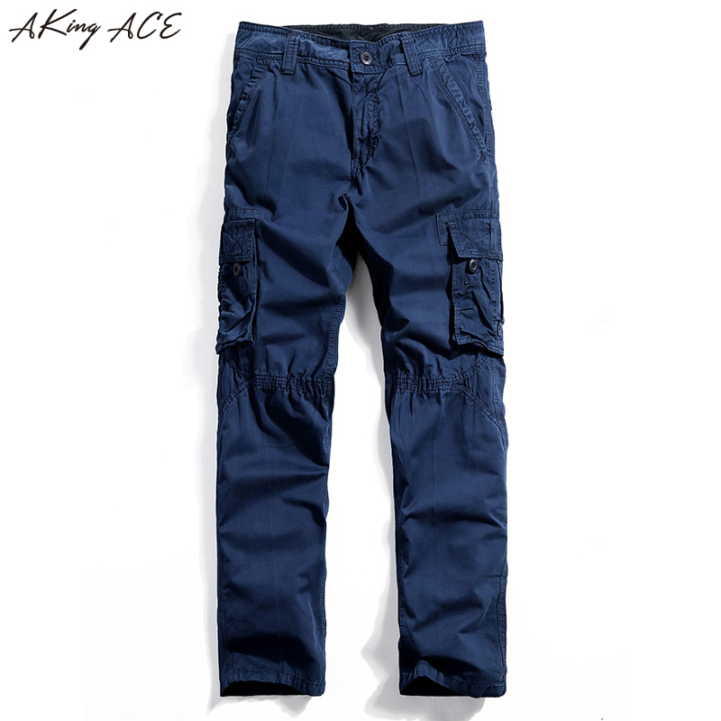 New 2017 Free shipping Men s blue cargo pants with mutil pockets casual pants for men