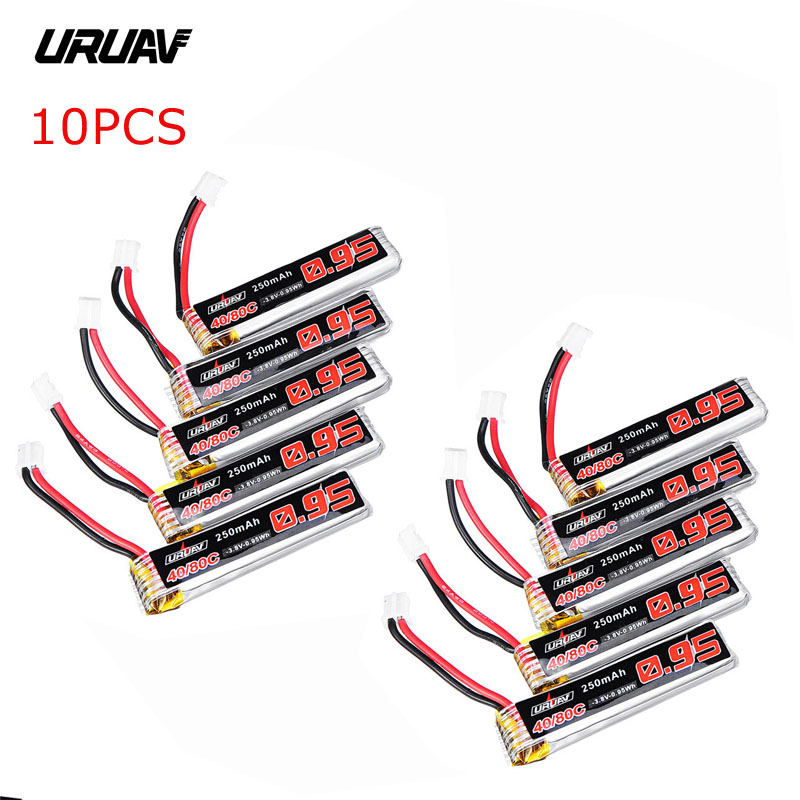 5 / 10PCS URUAV 3.8V 250mAh 40C/80C <font><b>1S</b></font> <font><b>Lipo</b></font> <font><b>Battery</b></font> Rechargeable W/ PH2.0 Plug Connector for US65 UK65 QX65 URUAV UR65 image