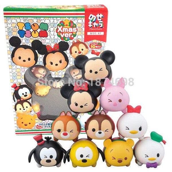 10PCS Tsum Christmas Ver Mini Mickey Minnie Donald Daisy Pluto Goofy Piglet Bear Chip And