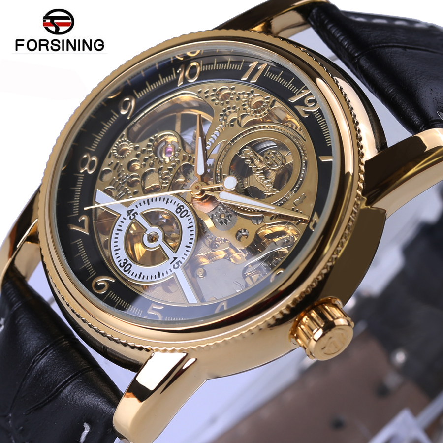 FORSINING Luxury Brand Mechanical Watches Men Black Gold Skeleton Dial Clock Casual Wristwatches Relogio Men Automatic Watch forsining automatic men s watch luxury brand militry wristwatch mechanical watch arabic numerals dial gold cuff chain band clock