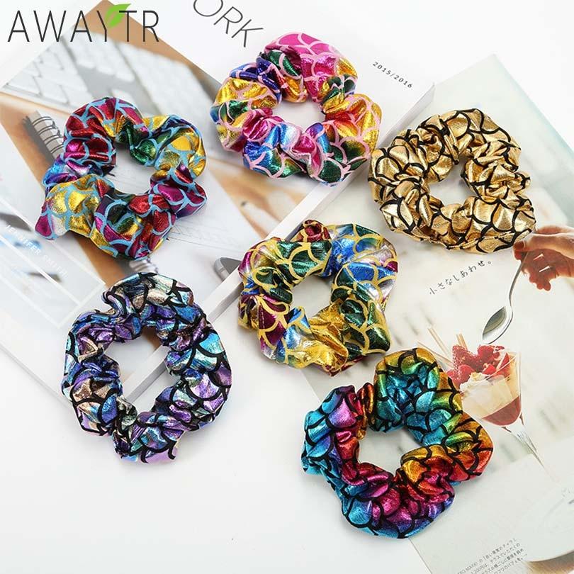 1 Pcs/Pack Glitter Bling Metalic Large Scrunchies Women Dancing Bun Hair Ties Ropes for Women Hair Accessories   Headwear   Fixed