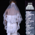 Cheap 2 Tiers 1 Meter White Ivory Lace Edge Purfles Short Tulle Wedding Veils Bridal Accessories Layer veu de noiva with comb