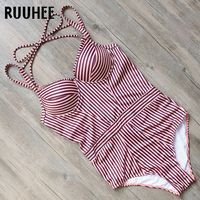 RUUHEE One Piece Swimsuit Swimwear Women Bodysuit 2017 Push Up Bathing Suit Vintage Women S Swimming