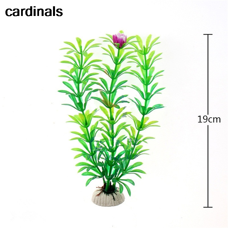 19 Cm Green PVC Material Simulation Artificial Water Grass Fake Flower Water Fish Tank Aquarium Bottom Accessories Decoration