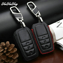 Leather Car Smart Key Case Cover For Toyota Avensis Corolla CHR Yaris Prius Camry Land Cruiser Prado 150 Key Ring Shell Fob