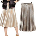 SEYAM New Fashion Shinny Gradient Gold Color Suedes Skirts Mid-Calf Jupe en Cuir Femme Faux Leather Pleaterd Skirt Autumn SL0817
