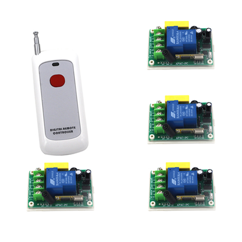 AC 220v 30A Relay 1CH Wireless RF Remote Control Switch 1 Transmitter+ 4Receiver 4163 home wireless rf switch remote control ac110v 220v 1 ch 1ch switch system 4transmitter and 4receiver with 4 buttons