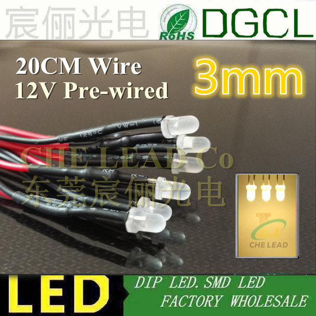 Hot sale Warm White/RED/GREEN/BLUE/YELLOW Pre wired 12V/24V DC LED 3mm Pre-Wired Light Bulb led lamp Emitting Diodes 20CM DIY