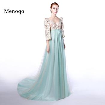 Menoqo New  Real Formal Dresses Empire High Waist Puff Sleeve Evening Dresses Pregnant Women Maternity Party Gowns Arabic