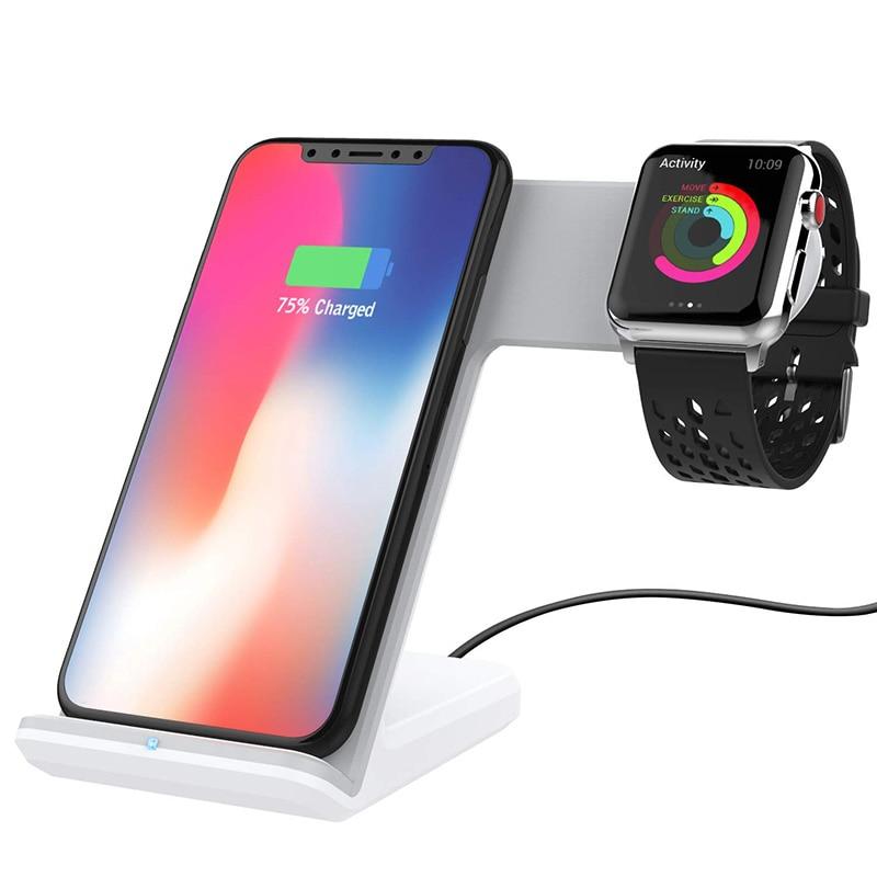 2 in 1 Qi Caricatore Senza Fili Per iPhone Xs Max Xiaomi Veloce di Samsung di Ricarica Senza Fili Del Basamento Del Bacino Per Apple Orologio iWatch Caricatore