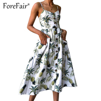 Forefair Boho Style Floral Print Strap Dress Women Beach Summer Dresses Pocket Button Vintage Sundress Vestidos
