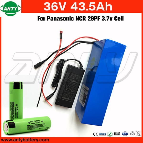 E Bike Battery 36v 43.5Ah 1400w For Panasonic NCR 29PF Cell with 2A Charger Built in 50A BMS Lithium Battery 36v Free Shipping free customs taxe 36v 1000w triangle e bike battery 36v 40ah lithium ion battery pack with 30a bms charger for panasonic cell