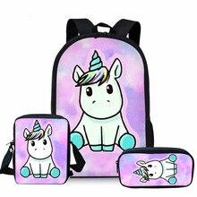 THIKIN Cartoon Unicorn Print Cute School Bags Kids Backpack for Girls Teen Bag 3PCS/SET Children Mochila Colorful Bookbag