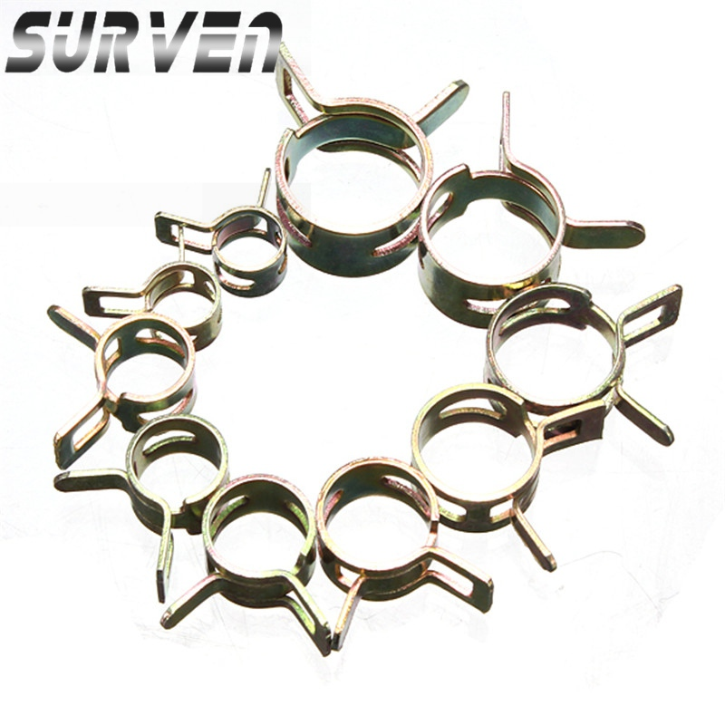 10Pcs 6-15mm Oil Water Pipe Air Tube Clamp Fuel Line Vacuum Hose Spring Type Clip Fastener Steel Zinc Plated