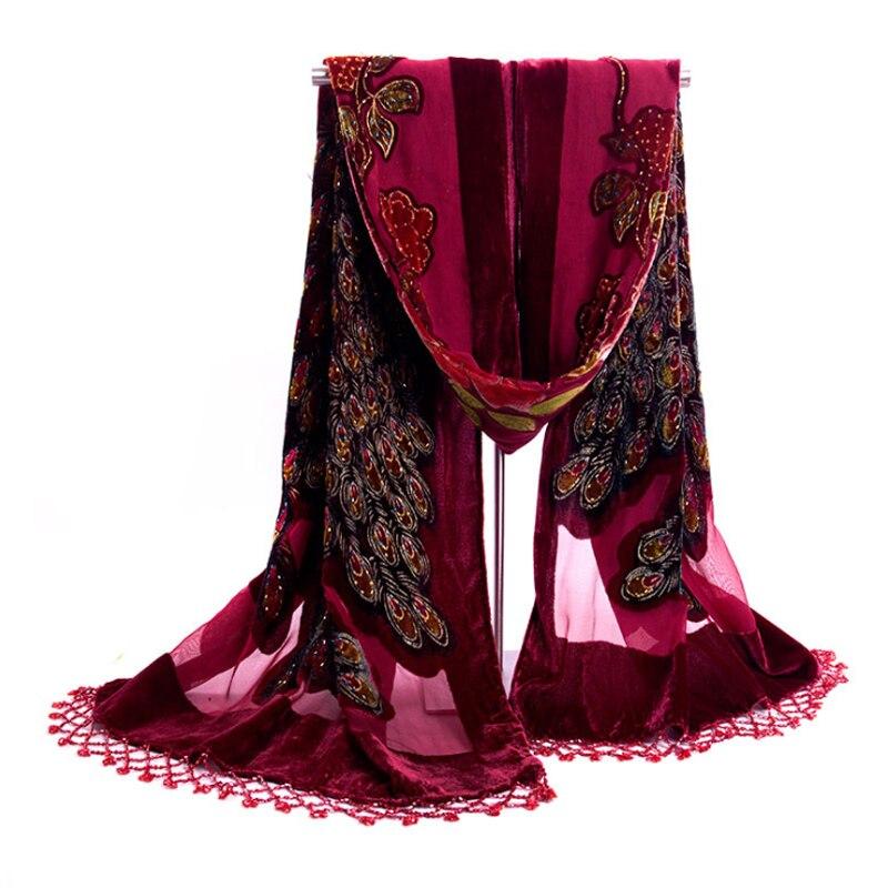 New Wine Red Quadrate Women Velvet Silk Beaded Sequin Shawls Scarves Vintage Handmade Embroider Peacock Scarf Wrap 112311