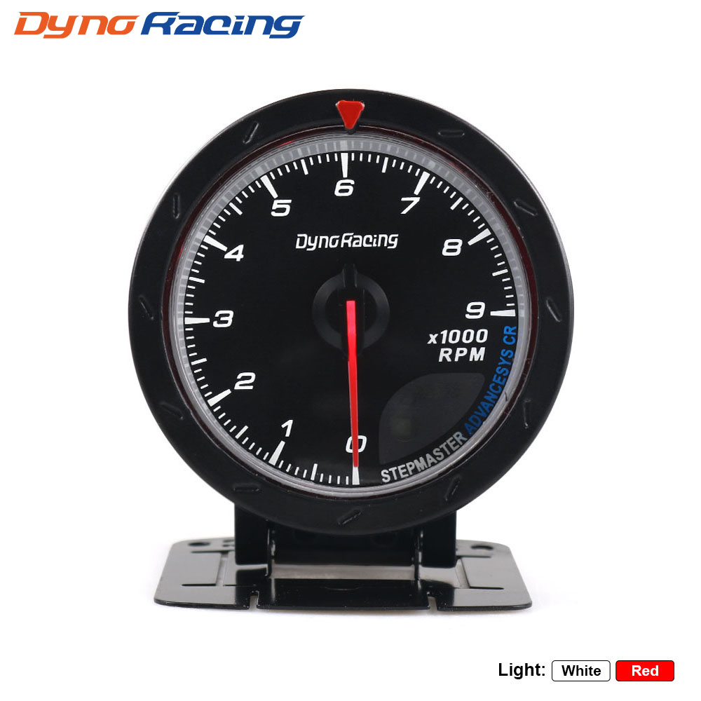 Dynoracing 60 мм Автомобильный Тахометр, красный и белый индикатор 0-9000 об/мин, черный измеритель оборотов в минуту, автомобильный измеритель, автомобильный измеритель BX101466