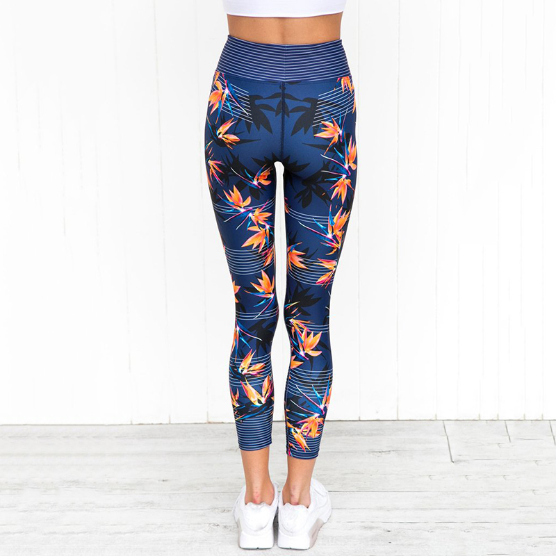 High Waist Yoga Pants Women's Fitness Sport Leggings Stripe Printing Elastic Gym Workout Tights S-XL Running Trousers Plus Size 1